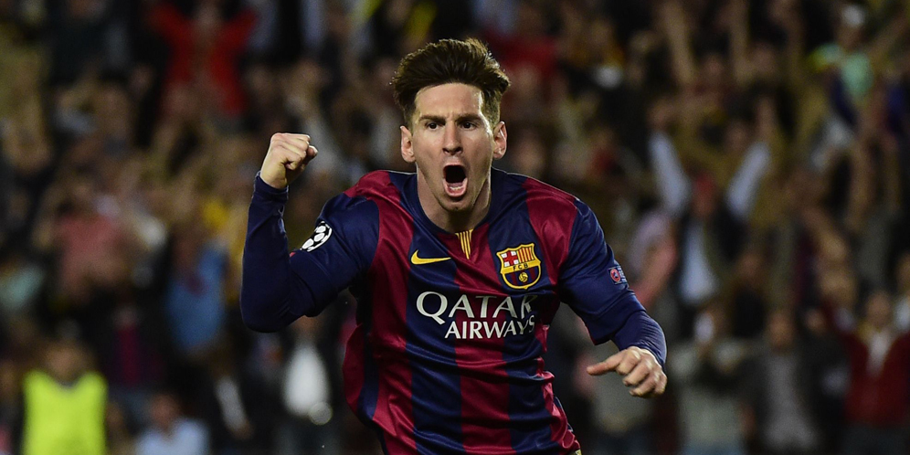 Barcelona's Argentinian forward Lionel Messi celebrates after scoring during the UEFA Champions League football match FC Barcelona vs FC Bayern Muenchen at the Camp Nou stadium in Barcelona on May 6, 2015. AFP PHOTO/ PIERRE-PHILIPPE MARCOU