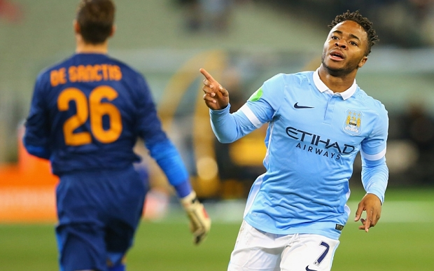 MELBOURNE, AUSTRALIA - JULY 21:  Raheem Sterling of Manchester City celebrates scoring a goal during the International Champions Cup friendly match between Manchester City and AS Roma at the Melbourne Cricket Ground on July 21, 2015 in Melbourne, Australia.  (Photo by Quinn Rooney/Getty Images)