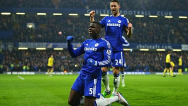 Kurt Zouma of Chelsea, No5, celebrates with Gary Cahill after scoring against Watford